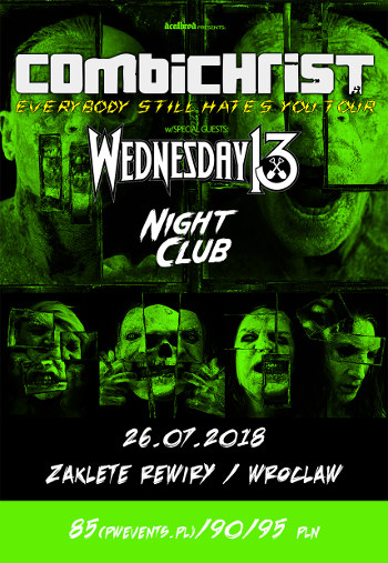 Combichrist + Wednesday 13 i Night Club na dwóch koncertach w Polsce