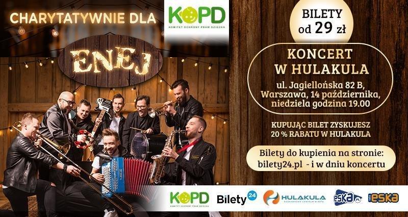 Enej zagra w Hulakula charytatywny koncert na rzecz Komitetu Ochrony Praw Dziecka