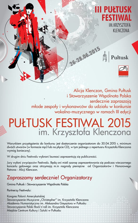 III Pułtusk Festiwal im.Krzysztofa Klenczona w czerwcu!